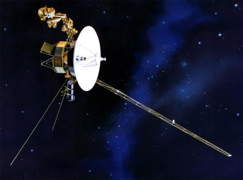 Taiteilijan näkemys Voyager 1 -luotaimesta. Kuva: NASA