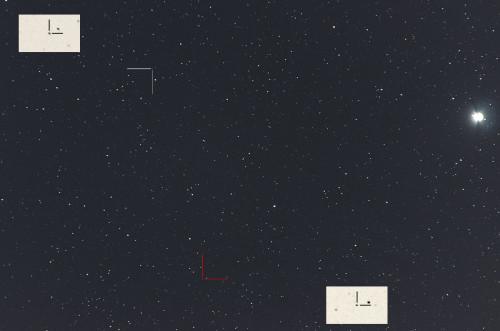 Valkoinen: (11) Parthenope Punainen: (19) Fortuna Nikon D5100, 200mm/f2.8, ISO3200, pinottu 45 x 1,6s ruutua