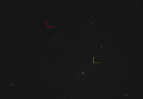 Punainen: (24) Themis Keltainen: (313) Chaldaea Nikon D5100, 200mm/f2.8, ISO3200, pinottu 30x1,3s