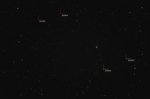 Punainen: (1) Ceres Keltainen: (4) Vesta