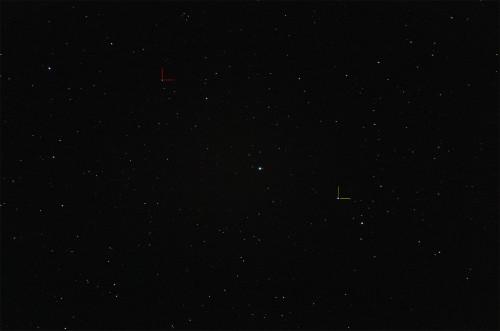 Punainen: (1) Ceres Keltainen: (4) Vesta Nikon D5100, 200mm/f2.8, ISO6400, pinottu 7 x 1,3s