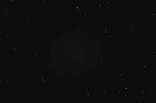 Punainen:  (9) Metis Keltainen: (65) Cybele Nikon D5100, 200mm/f2.8, ISO3200, pinottu 50 x 1,3s