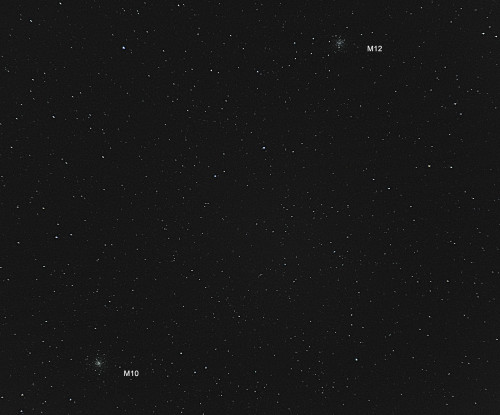 Pallomaiset tähtijoukot M10 ja M12 Nikon D5100, 200mm/f2.8, ISO3200, pinottu 50 x 1,3s