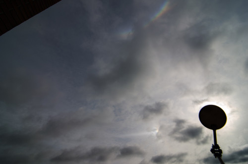 Sivuaurinko, 46 asteen ylläsivuava, zeniittiympäristön kaari ja horisonttirengas Nikon D5100, 11mm/f11, ISO100, 1/320