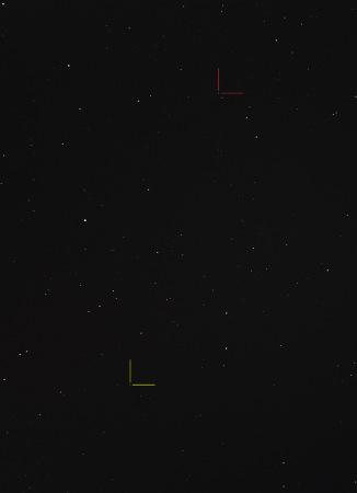 Punainen: (84) Klio Keltainen: (258) Tyche Nikon D7100, 200mm/f2.7, ISO1600, pinottu 56 x 1,3s