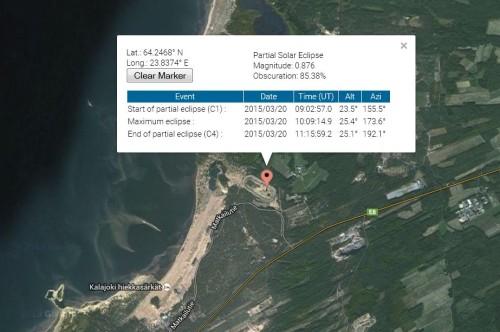 Havaintopaikka Kuva: NASA/Google