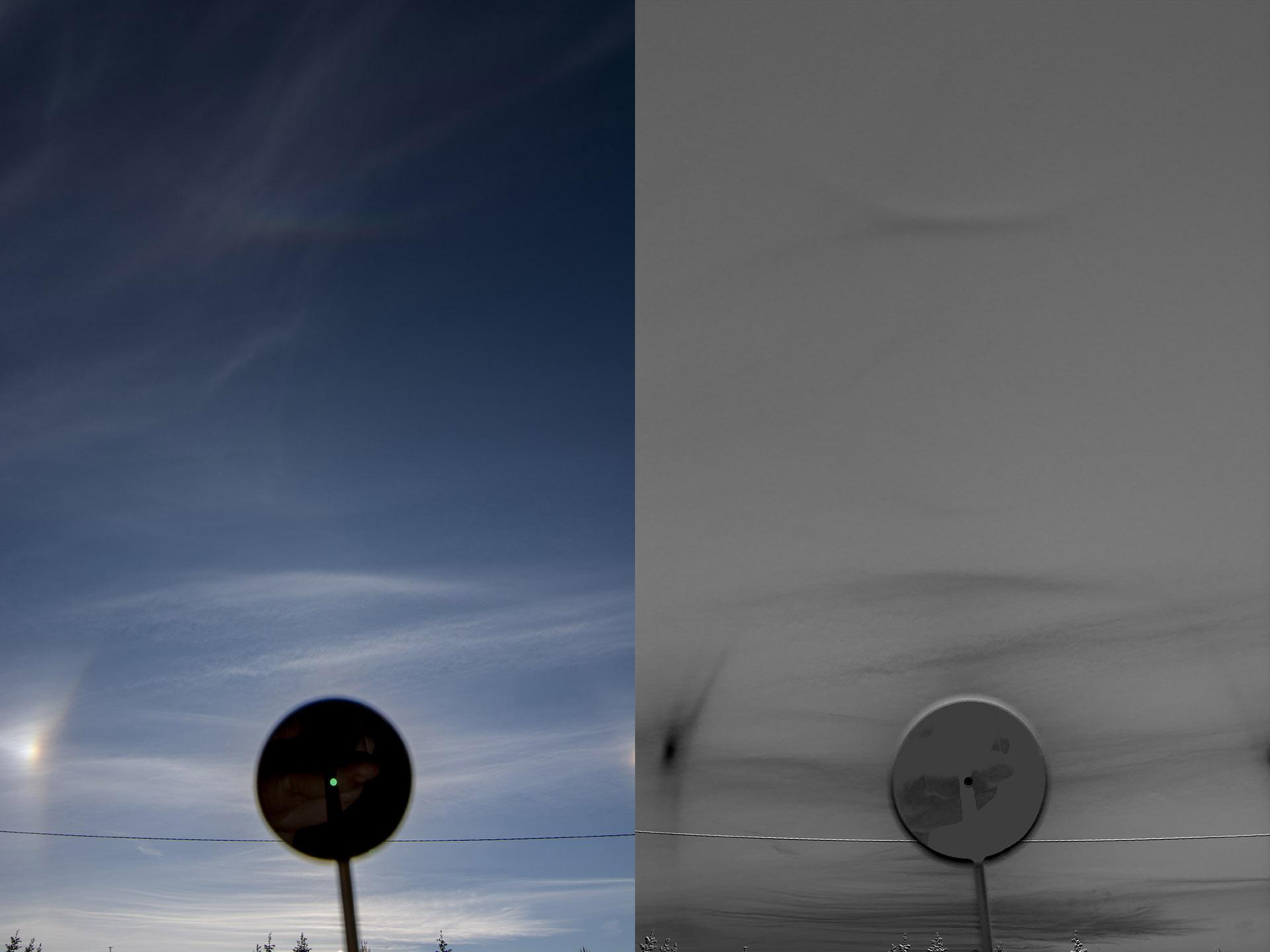 Vasen: Peruskäsitelty halokuva Oikea: B-R -käsitelty halokuva