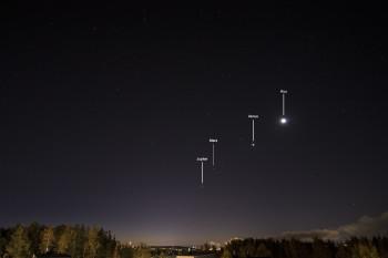 Jupiter, Mars, Venus ja Kuu