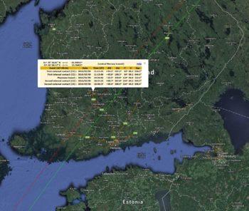Merkuriuksen ylikulku - kontaktien ajat (Tampere)